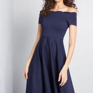Modcloth Blue Scallop Timeless Off Shoulder Dress